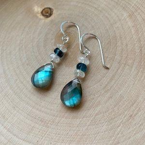 Jewelry - SOLD.  Labradorite, Moonstone & Kyanite Earrings